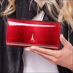 Skórzany portfel damski lakierowany czerwony paris design 64003 - czerwony