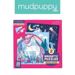 Mudpuppy, puzzle magnetyczne magiczne jednorożce 40 elem.