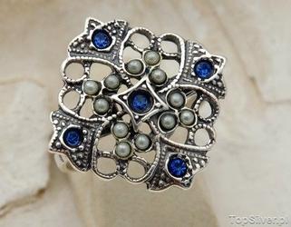 Panama - srebrny pierścionek z szafirami i perłami