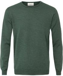 Sweter  pulower o-neck z wełny z merynosów zielony s