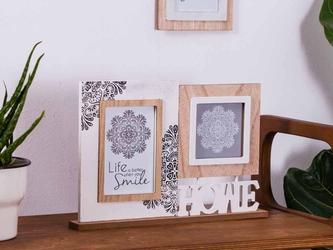 Ramka do zdjęć podwójna drewniana altom design mandala 23 x 32 cm na zdjęcia 10 x 15 i 10 x 10 cm
