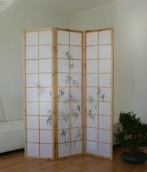 Parawan drewniany 3-skrzydłowy jasny, czarny bambus