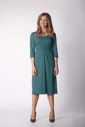 Dzianinowa zielona sukienka z elementami drapowania