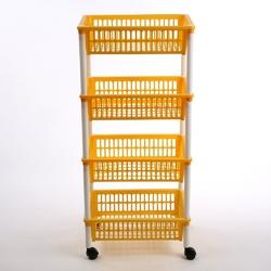 Regał 4 półkowy na kółkach  półki  szafka tontarelli żółty