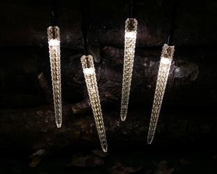 Lampki solarne sopelki 7,3cm 30 led joylight 4,8m ciepła biel