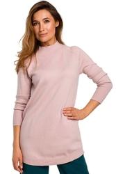 Różowy Wygodny Sweter z Półgolfem