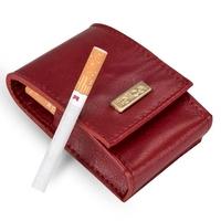 Skórzane damskie etui na papierosy felice fa14 standard czerwone - czerwony