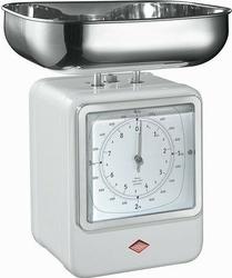Waga kuchenna z zegarem retro biała
