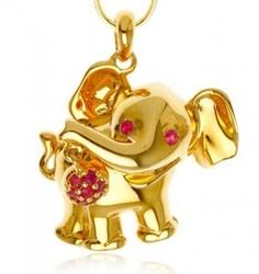 Kari ; srebrny wisiorek słoń z rubinami