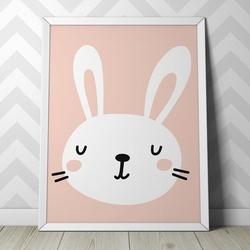 Króliczek - plakat dla dzieci , wymiary - 40cm x 50cm, kolor ramki - biały