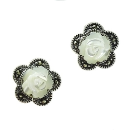 Barokowe róże srebrne kolczyki róże z markazytami