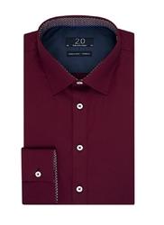 Elegancka bordowa koszula profuomo z kontrastową wstawką 44