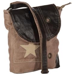 Vidaxl torba na ramię, brązowa, 29x6x24 cm, płótno i skóra naturalna