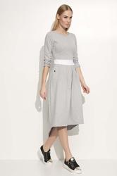 Szara sukienka midi z kontrastowym paskiem