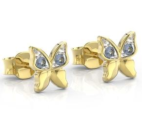 Kolczyki z żółtego złota z niebieskimi cyrkoniami bpk-88z-r-c - żółte z rodowaniem