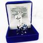 Żyrafa swarovski srebrna niebieska pamiątka na chrzest z grawerem
