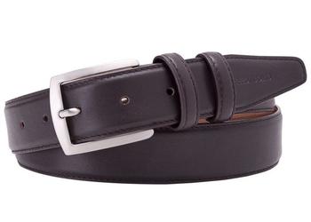 Elegancki ciemny brązowy skórzany pasek męski do spodni 95