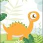 Dino pomarańczowy - plakat wymiar do wyboru: 61x91,5 cm