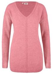 Sweter w dekolt w serek bonprix dymny różowy