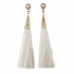 Kolczyki frędzle perła długie chwost kremowe - kremowe