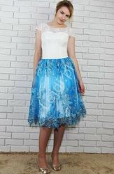 Sukienka wieczorowa z koronkową górą i błękitnym tiulowym dołem | krótkie  na studniówkę, wesele - gabi błękitna