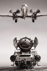 fototapeta samolot, parowóz 071p