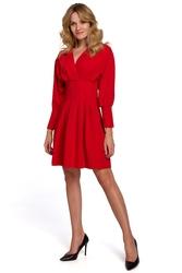 Czerwona kopertowa sukienka z kimonowym rękawem