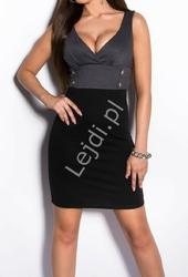 Sukienka z patkami pod biustem szaro - czarna