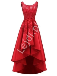 Czerwona sukienka z wydłużonym tyłem gabriela