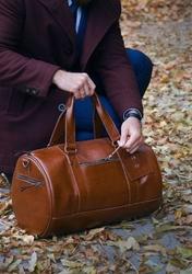 Skórzana torba męska weekendowa solier sl19 brandon vintage brąz - brązowy vintage