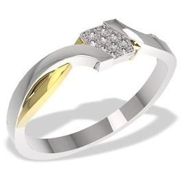 Pierścionek z białego i żółtego złota z diamentami 0,05 ct wzór lp-37bz