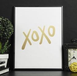 Xoxo - plakat w ramie ze złotym nadrukiem , wymiary - 40cm x 50cm, kolor ramki - biały, kolor nadruku - złoty