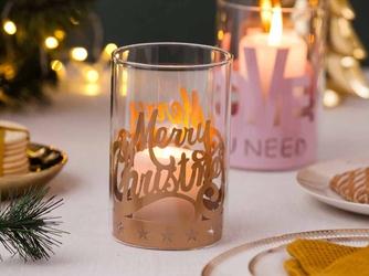 Świecznik świąteczny  lampion  dekoracja świąteczna  tea light  boże narodzenia altom design merry xmas 10 x 15 cm