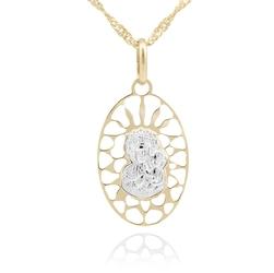 Złoty ażurowy medalik z matką boską częstochowską pr. 585 prezent z grawerem - różowa