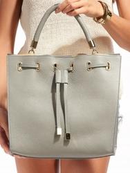 Torebka damska shopper bag skórzana rovicky szara - szary