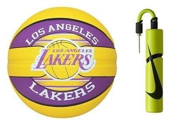 Piłka do koszykówki spalding nba team los angeles lakers + pompka nike essential