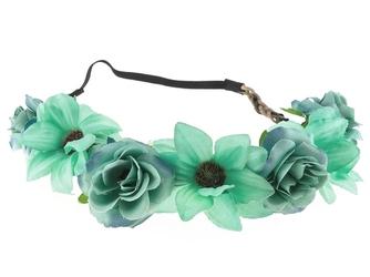 Wianek opaska na gumce. kwiaty róże. jasny zielony
