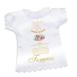 Koszulka szatka na chrzest złota satynowa pamiątka chrztu ze zdjęciem - złoty duch święty