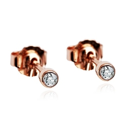 Staviori kolczyki. 2 diamenty, szlif brylantowy, masa 0,05 ct., barwa h, czystość i1. różowe złoto 0,585.   niezwykłe, stylowe kolczyki z najmodniejszego, różowego złota. piękno, styl i włoski design czystej postaci.