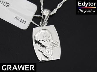 Srebrny medalik - modlące się dziecko GRAWER chrzest roczek