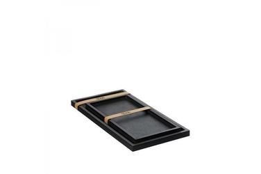 Zestaw 2 tac prostokątnych z drewna czarny