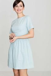 Błekitna bawełniana sukienka z krótkim rękawem
