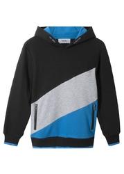 Bluza z kapturem quot;colour-blockingquot; bonprix czarno-jasnoszary melanż - niebieski