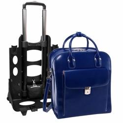 Skórzana torba damska na laptopa 15,6 z odpinanym wózkiem mcklein la grange granatowa - granatowy