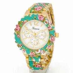Zegarek BRANSOLETA kwiaty ZIELONY damski - MINT