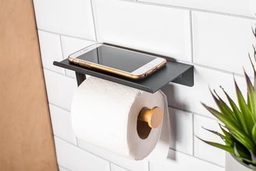 Uchwyt na papier toaletowy altom design z podstawką pod telefon czarny