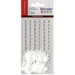 Samoprzylepne perełki+ozdobne kwiatki - 75 szt. - BIA