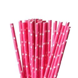 Słomki papierowe c.różowe w białe gwiazdki
