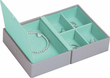 Pudełko na biżuterię podróżne Travel Box Stackers szaro-błękitne