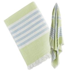 Ręcznik turecki wielofunkcyjny 150x100 - zielony z błękitem